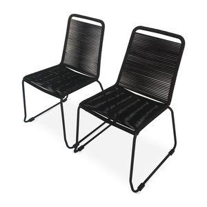 Set mit 2 BRASILIA Gartenstühlen aus Seil, schwarz, stapelbar, draußen