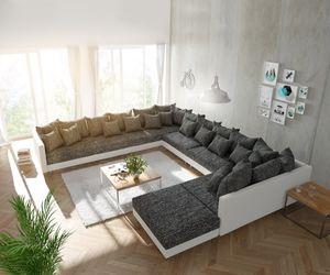 DELIFE Couch Clovis XXL Weiss Schwarz mit Hocker Ottomane Links Wohnlandschaft