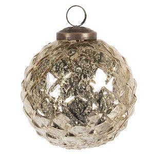 Clayre & Eef Weihnachtskugel 6GL2666 Kerstbal Ø 10 cm - Goldfarbig Glas Christbaumkugel Weihnachtsbaumschmuck Weihnachtsbaumkugeln