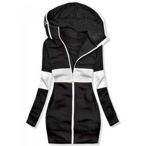 Mode Frauen Patchwork Jacke Reißverschluss Tasche Sweatshirt Langarm Mantel WJY201008110 Größe:L,Farbe:Schwarz