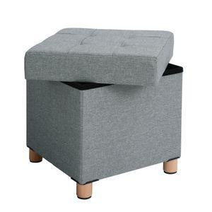 SONGMICS Sitzhocker, mit Stauraum und Deckel, Sitztruhe, Fußhocker mit Holzfüßen, 38 x 40 x 38 cm, Hellgrau LSF14GYX