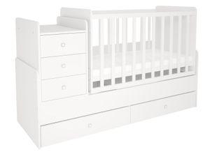 Polini-Kids Kombi-Kinderbett Simple 1100 mit Kommode weiß; 1227.9