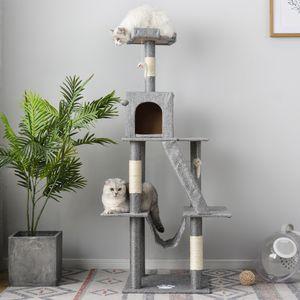 Katzenkratzbäume Kratzbaum 140cm mit Eigentumswohnungen & Hängematte katzenbaum für Kätzchen und erwachsene Katzen grau
