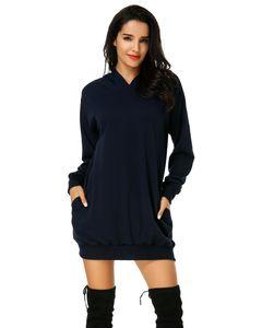 Damen Hoodie Kleid Pullover Langarm Sweatshirts Kapuzenpullover Tops Herbst Mini Kleid, Marineblau-2XL