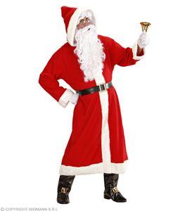 Widmann 1544V - Luxus-Kostüm 'Weihnachtsmann' - Mantel mit Kapuze, Gürtel, Stiefelüberzieher mit Schnallen, Perücke, Bart mit Schnurbart, Augenbraue
