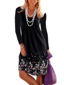 Frauen Boho T-Shirt Kleid Lässig lose Herbst Kaftan Kleid Damen Blumen Tunika Kleid,Farbe:Schwarz, Größe:L