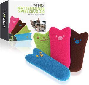 KATZOX® Premium Katzenminze Kissen [4er Set], Innovatives Katzenspielzeug mit hohem Gehalt an Katzenminze, gleichermaßen Schmusekissen wie Beschäftigung für die Katze - Verbessertes Konzept 2021