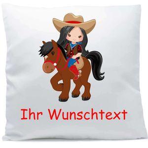 Kissen mit Namen Pferd Reiterin schwarze Haare 40x40 cm inkl. Füllung Kuschelkissen Wunschtext, Kissen Farbe:Vorderseite weiß / RS schwarz