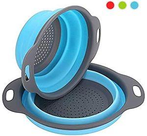 Sieb Klappbar 2 Stück Faltbare Abtropfsieb Stück Silikon Sieb Faltbare Seiher Küche Ordnung Nudelsieb (Blau)