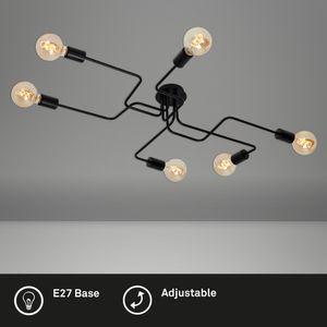 Deckenleuchte retro vintage 6x E27 60 Watt Metall Schwarz Briloner Leuchten