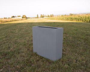 Pflanzkübel Blumenkübel Pflanztrog Blumentrog Fiberglas als Raumteiler 108x40x100cm Grau