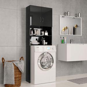 beraes Waschmaschinenschrank Hochglanz-Schwarz 64×25,5×190 cm