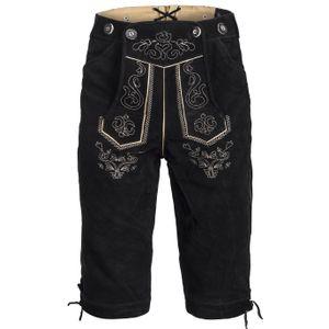 Trachten Lederhose Kniebundhose mit Trägern aus Rindveloursleder Schwarz 52