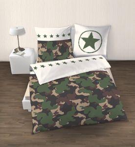 CAMOUFLAGE Renforce Bettwäsche · Militär & Army Tarnlook · Sterne, Stars & Camo · Kissenbezug 80x80 + Bettbezug 135x200 cm · 100% Baumwolle