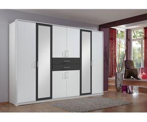 548450 Diver Weiß / Schwarz Kleiderschrank Stauraumschrank Drehtürenschrank 8türg mit Schubladen ca. 270 x 210 x 58 cm