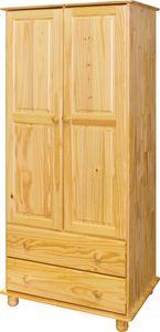 Möbilia Kleiderschrank | 2 Türen | 2 Schubladen | Kiefer-Holz massiv | B 82 x T 52 x H 177 cm | natur | 19020011 | Serie SCHRANK
