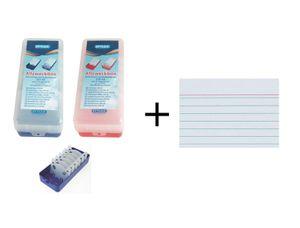2x Lernbox / Karteikasten / DIN A8 / je 1x blau + rot + 1000 Karteikarten