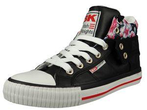 British Knights Damen High Sneaker Roco B47-3702-04 Schwarz  Black/Flower Textil, Groesse:41 EU