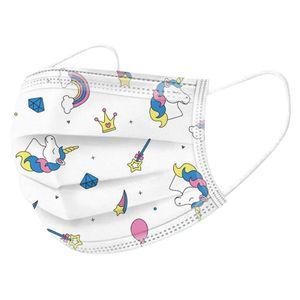 50 Stück 3-lagige Einwegmaske für Kinder, Kindermaske, Einhornmuster, Schutzmaske, Staubmaske, Einhorn Maske