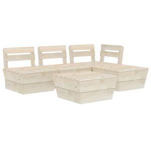 vidaXL 5-tlg. Garten-Paletten-Lounge-Set Imprägniertes Fichtenholz