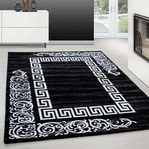 Teppich modern design teppich Rechteck Versace Muster mit Barock Schwarz, Farbe:SCHWARZ,120 cm x 170 cm
