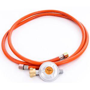 Gasschlauch Set bestehend aus Gasdruckregler 50 mbar und flexiblem Gasschlauch 200 cm - ideal für Gasgrills, Heizstrahler, Hockerkocher, Gaskocher, Lampen, uvm.