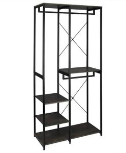 Garderoben- & Kleiderständer 4 Ablagen aus Holz & Metall