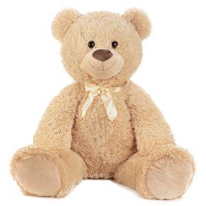 XXL Teddybär hellbraun flauschig mit Schleife 100cm groß Kuscheltier