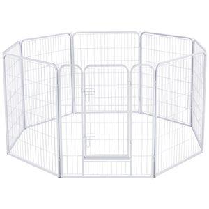 Yaheetech Welpenlaufstall Freigehege Welpenzaun Gehege Laufstall mit Tür, aus 8 Panelen je Panel 80 x 100 cm outdoor oder indoor