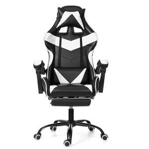 Meco Gaming Stuhl Bürostuhl Schreibtischstuhl mit Armlehne Gamer Stuhl Drehstuhl Höhenverstellbarer Gaming Sessel PC Stuhl Ergonomisches Chefsessel mit Fußstützen Weiß
