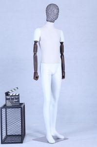 AB+76 Schaufensterpuppe weiß matt lackiert Stoffbezogener Brustkopf. Arme aus Holz. Hochwertig Metallgitter Kopf mit Metallplatte Männlich Mann
