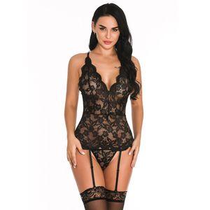Frauen Sexy V-Ausschnitt Spitze Knopf Dessous Jumpsuit Langarm Bodysuit Nachtwäsche Größe:XXL,Farbe:Schwarz