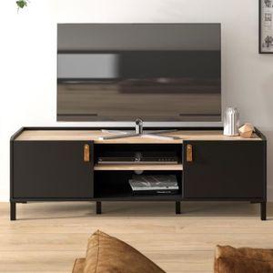 AMSTERDAM TV-Ständer - Industriestil - Nachbildung aus schwarzer Eiche - L 136 x T 40 x H 44 cm