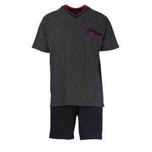 GÖTZBURG Herren Schlafanzug Set - kurz, V-Ausschnitt, gemustert Blau XL