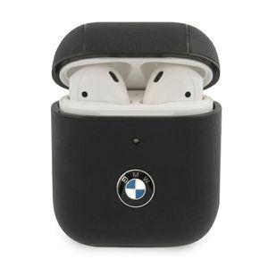 BMW Apple AirPods / AirPods 2 Leder Cover Schwarz Schutzhülle Tasche Leather Case Etui Halter Zubehör