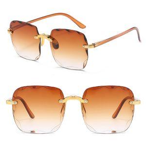 Damen Herren Randlose Sonnenbrille Luxus Shades UV400 Brillen Mode Sonnenbrillen Farbe : Farbverlauf Braun
