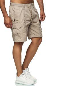 Herren Cargo Shorts Leichte Freizeit Bermuda Hose Kurze Schlupfhose , Farben:Beige, Größe Hosen:M