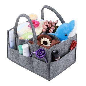 Windel Organizer,Tragbare Wickeltasche Filz Baby Windel Organizer mit Wechselbaren Fächern für Säuglingsartikel, Tücher, Lotion, für Kinderzimmer, Auto und Reise, Grau