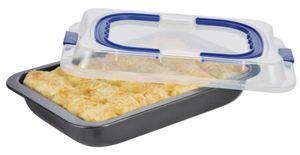 Kuchenform Backform Kuchenblech Transportblech Auflaufform mit Deckel Tragegriff