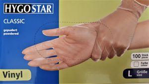 100 Einmalhandschuhe / Handschuhe , VINYL , gepudert , transparent Größe L