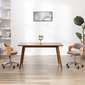 Bürostuhl Drehbarer Schreibtischstuhl Chefsessel Taupe Bugholz und Stoff