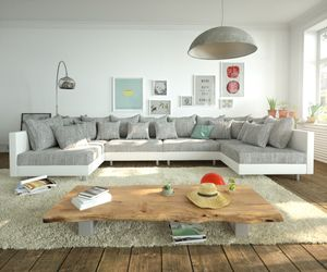 DELIFE Couch Clovis XL Weiss Hellgrau Wohnlandschaft Modulsofa