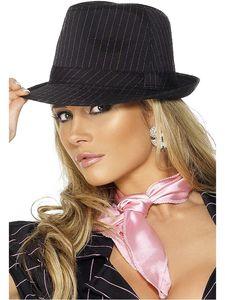 Kostüm Zubehör Gangster Hut schwarz rosa Streifen Karneval Fasching