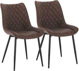 WOLTU Esszimmerstühle BH210br-2 2er-Set Küchenstuhl Polsterstuhl mit Rückenlehne, Kunstleder, Metallbeine, Antiklederoptik, Braun
