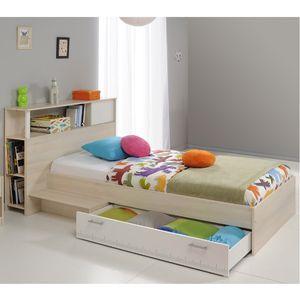 Funktionsbett Charly 90*200 cm inkl. Kopfteil(regal) + Bettkasten + Ablagetisch Akazie beige weiß Gäste Jugend Kinderzimmer Kinderbett Bettliege