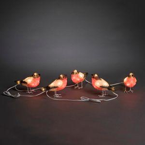 LED Acryl Rotkehlchen, 5er-Set, 40 kalt weiße Dioden, 24V_Außentrafo, weißes Kabel