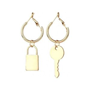 Mllaid Punk Gold Sliver Bff Key Lock asymmetrische baumeln Ohrring Aussage Bts lange Tropfen Ohrringe