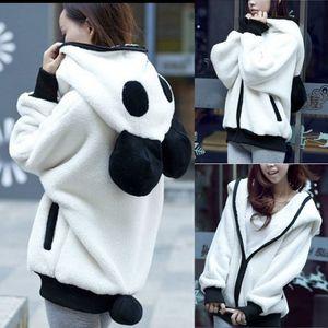 Netter Bärenohr Panda Winter Warmer Hoodie Mantel Frauen Kapuzenjacke Oberbekleidung Größe:L,Farbe:Weiß