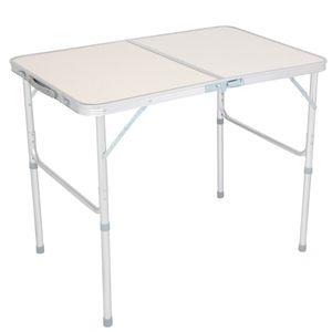 Klappbarer Tisch aus Aluminiumlegierung im Freien tragbarer Camping Grill Esstisch weiß,90x60x70cm