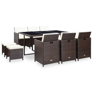 Huicheng 11-tlg. Polyrattan Sitzgruppe Garten-Essgruppe mit 6x Stühle, 1x Tisch, 4x Hocker & Kissen Gartenmöbel Sets Braun
